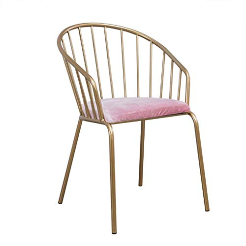 Anyer Eisen Kunst Bar Stuhl Haushalt Make-up Stuhl Sessel Dressing Hocker Romantisch mit Rückenlehne Flanell Esszimmerstuhl Bar/Balkon Gold,Pink -