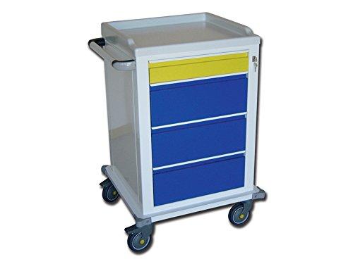 Modulare Breite Schublade (GiMa 45601. Stahl lackiert Wagen Modular, 1kleinen Schubladen und 3Medi, 67cm Länge x 63cm Breite x 104cm Höhe)