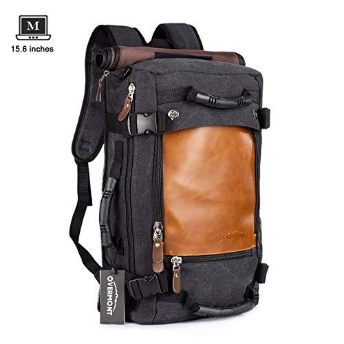 Overmont Vintage Rucksack Herren Wanderrucksack Reiserucksack 15,6 Zoll Laptoprucksack Schultasche Daypack Großer Multifunktion Khaki/Schwarz - Schwarz Leder Khaki