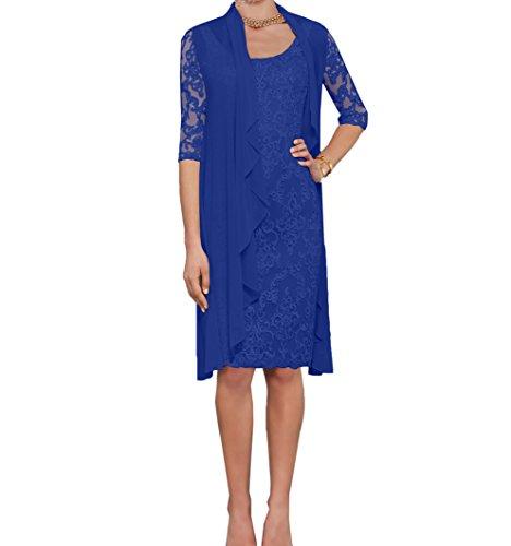 Charmant Damen Royal Blau Spitze Abendkleider Etuikleider Brautmutterkleider mit Langarm Bolero-42...