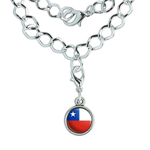 Ac-flag (Armband versilbert mit Antik Charme Land National Flagge A-C Chile National Country Flag)