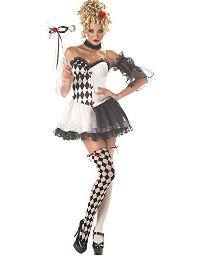 Ladies le belle harlequin jester masquerade halloween fancy dress costume small