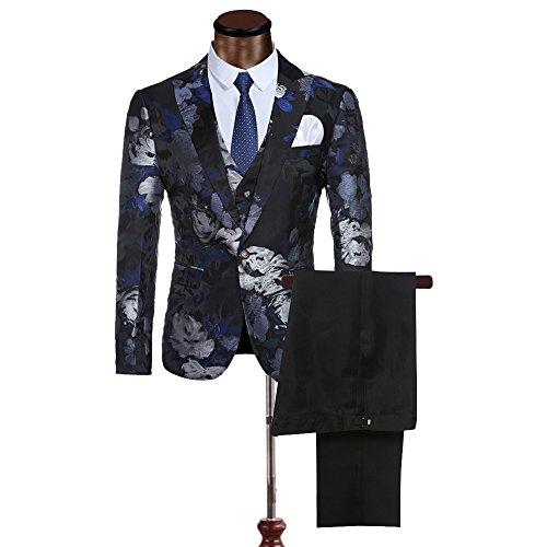 Modisch Slim Fit Schnitt Herren 3-TeiligAnzug Muster Design Hochzeit Party Blau