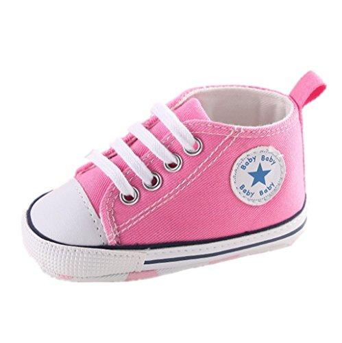 Zapatos para bebé Auxma La zapatilla de deporte antideslizante del zapato de lona de la zapatilla de deporte Para 3-6 6-12 12-18 M (3-6 M, Rosado)