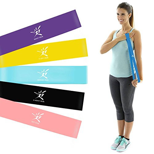 Terapia plana bandas de resistencia Set, látex libre soporte de ejercicio elástico bandas para estiramiento, flexibilidad, Pilates, Yoga, Ballet, gimnasia y rehabilitación, Loop Bands