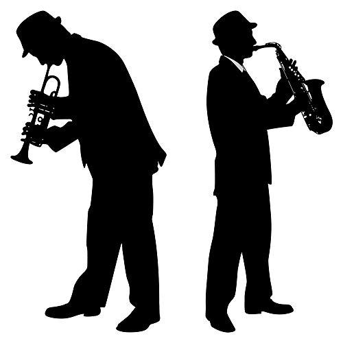 Wandtattoo Musik Wandsticker Musik Duo mit Trompete und Saxophon Deko Figuren z