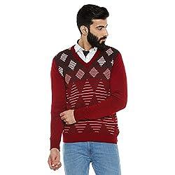 Duke Men Solid Sweater Cranberry Coloured Medium