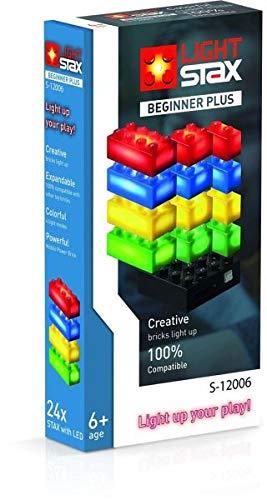 Light STAX S de 12006Juego, Compatible con Lego, con 24LED de diseño Piedras en 4Colores Plus Mobile Power Brick
