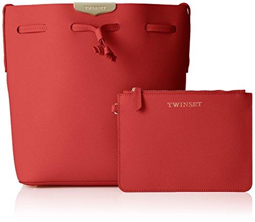 TWIN SET As7pwr, Borsa a Secchiello Donna, 11.5 x 27 x 23 cm (W x H x L) Rosso (Ultra Red)