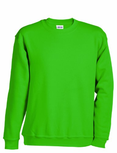 James & Nicholson Jungen Round-Sweat-Heavy Junior Sweatshirt, Grün (lime-green), X-Small (Herstellergröße: XS (98/104)) (James Kinder Kostüm)