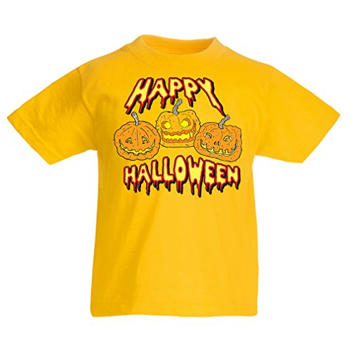 lepni.me Kinder Jungen/Mädchen T-Shirt Happy Halloween! Party Outfits & Costume - Gift Idea (1-2 Years Gelb Mehrfarben)