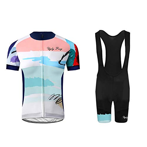 Uglyfrog Rennrad MTB Sommer Herren Radtrikot Set, Atmungsaktiv Quick-Dry Kurzarm Radsport-Shirt + Gel Gepolsterte Shorts DEHerren26