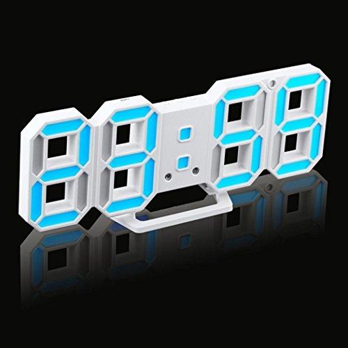 Zarupeng LED Digitale Uhr 3D, Elektronischer Lautlos Timer Praktischer Tisch Schreibtisch Nachtwand Uhr Alarm Watch 24/12 Stundenanzeige (One Size, B) -