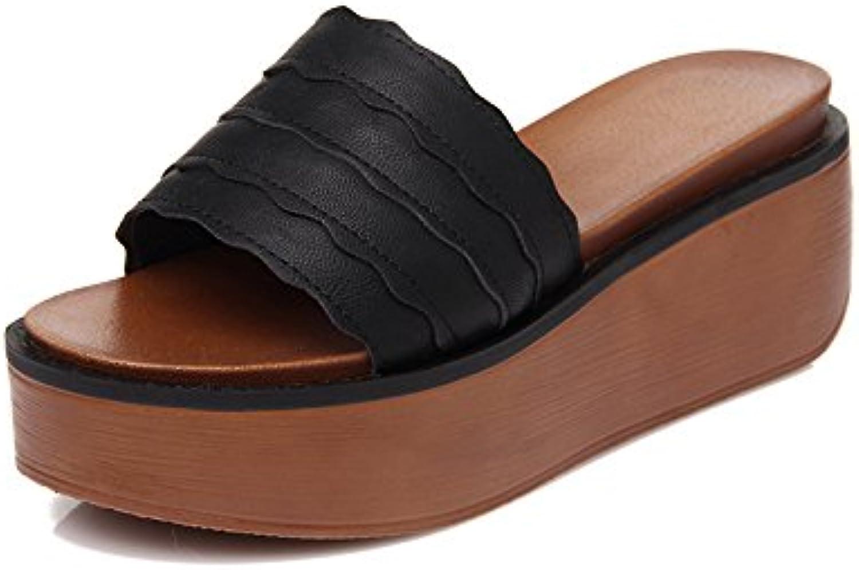 OME&QIUMEI Usar Sandalias Y Zapatillas Para Primavera Verano Zapatos Y Sandalias De Tacón Negro 36  -