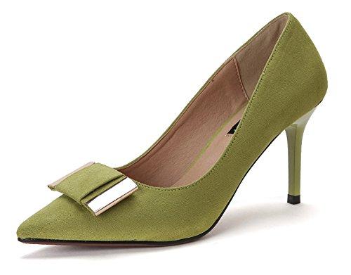 Aisun Femme Elégant Talon Haut Aiguille Tire Carré Escarpins Vert