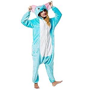Katara-(10+ Modelos) Kigurumi Pijamas Disfraz Animal Halloween Adultos, Color elefante, Talla 155-165cm (1744)