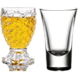 King International 100% Crystal 1 Curved Shot Glass & 1 Pineapple Shot Glass|Set Of 2|30 Ml