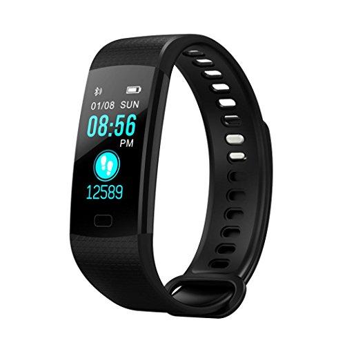KingProst-Fitness Bluetooth Smartwatch Pulsuhren Armbanduhr Sport Uhr Fitness Tracker mit Pulsmesser SchrittzäHler Schlaftracker Kompatibel mit iPhone Android Handy (Schwarz)
