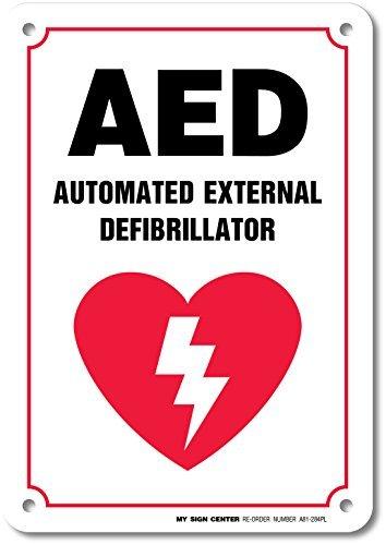 Automatiesierter Externer Defibrillator Sicherheit Schild Metall Platte Blechschild Aluminium Plaque 20,3x 30,5cm Innen strapazierfähige Outdoor