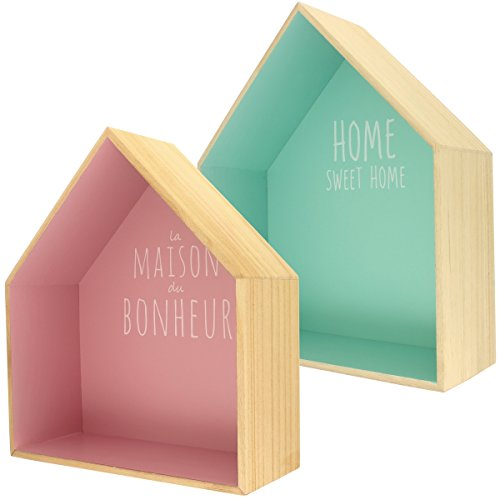 Promobo - Set Ensemble Deux Etagères Design Scandinave Bois Forme Maison Inscription Fun Pastel