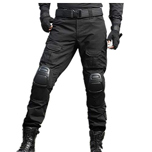 SGOYH Multi-Tasche Diensthosen Paintball Schießen BDU Taktische Hosen Airsoft Hosen mit Knieschützer