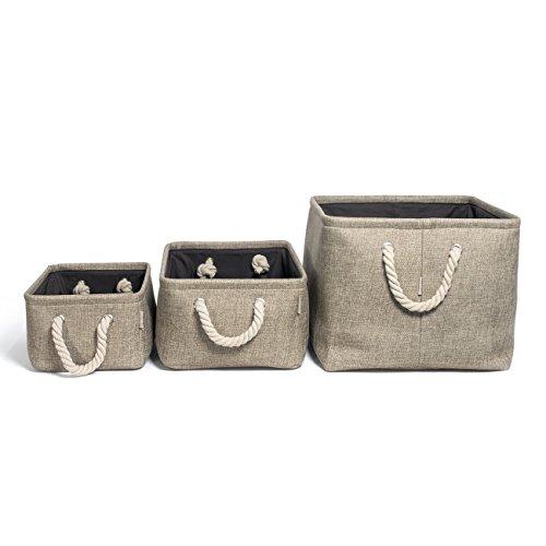 COSYLAND 3 Stück Aufbewahrungsbox faltbar Speicher Korb (Khaki Grau) aus Leinen für Kleidung, Bücher, Spielzeug, Schublade und -
