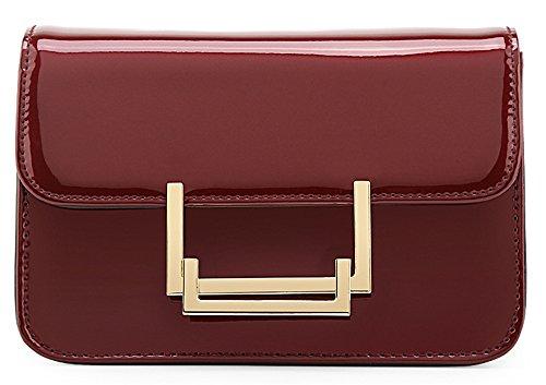 Xinmaoyuan Borse donna brevetto pu borsette in cuoio catena semplice spalla Borsa di tipo cuscino quadrato piccolo sacchetto,rosso Rosso