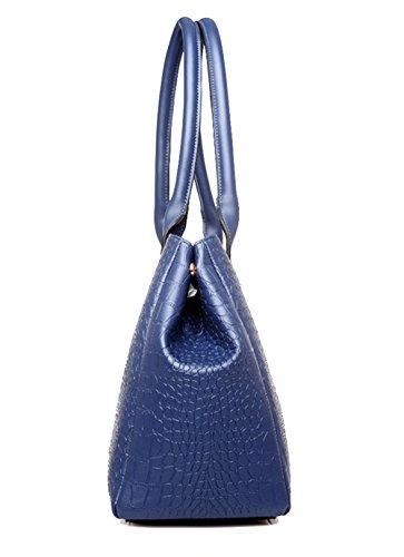 Tibes Pelle Sintetica Borsetta Donna + Borse a tracolla + Sacchetto di corpo trasversale + Borsette da polso + Confezione da carta 5 insiemi Borse a mano Profondo blu