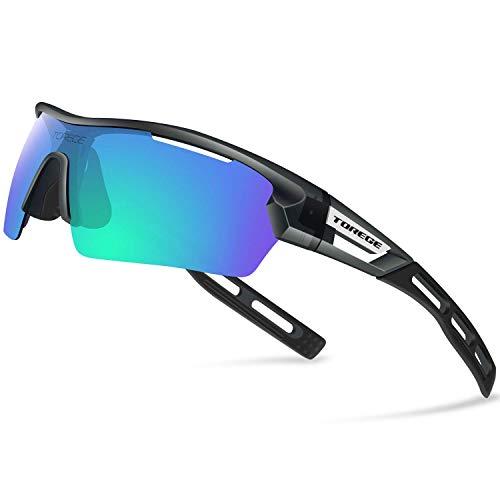 James Fashion polarisierte Sportsonnenbrille für Herren und Damen, für Radfahren, Laufen, Fahren, TR033 Gr. Einheitsgröße, Transparent Gray&black Tips&green Lens