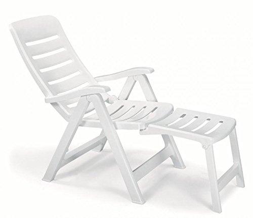 Fauteuil en résine avec rallonge, fauteuils pliantes d'extérieur, fauteuil en plastique réglable