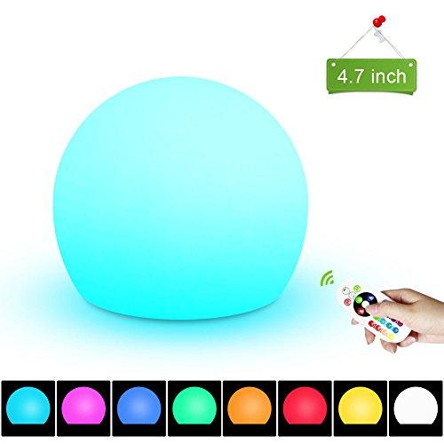 2nDLove Nachtlicht Kind, LED Nachtlampe Stimmungslicht, Wiederaufladbare Nachttischlampe, RGB Farbwechsel Tischlampe mit Fernbedienung, IP65 Wasserdicht, 16 Farben, 4 Modi, Dimmbares 4.7 Inch