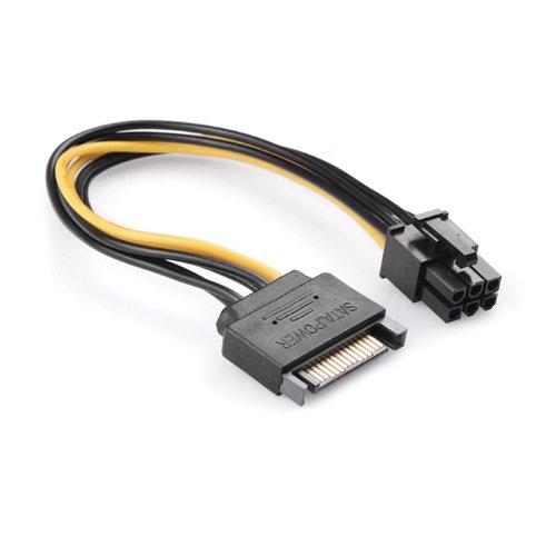ULIAN SATA Stromkabel 15pin zu 6Pin Videokarte rückseitiges Netzteilkabel 15 Stift 6PIN Grafikkarte Netzkabel 20cm