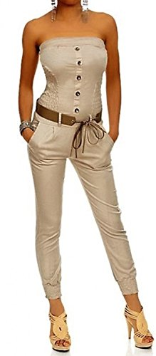 Laeticia Dreams Damen Jumpsuit Overall Bustier Sommer Lang S M L XL, Farbe:Sand;Größe:36