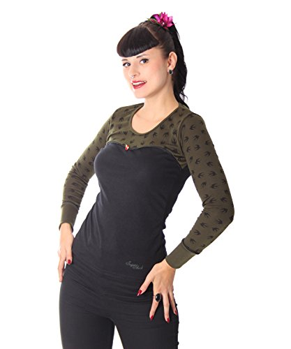 SugarShock Anni Tattoo Schwalben Rockabilly 2-tone Longsleeve langarm Shirt schwarz oliv