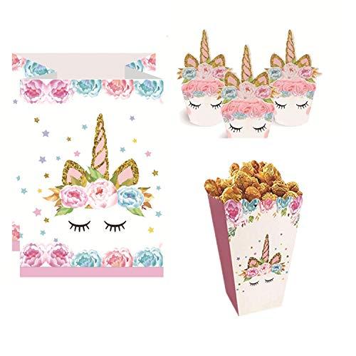 Topways® Einhorn Cupcake Toppers und Wrapper, Papier Candy Treat Taschen, Popcorn Snack-Boxen Container für Unicorn Theme Party Birthday Party