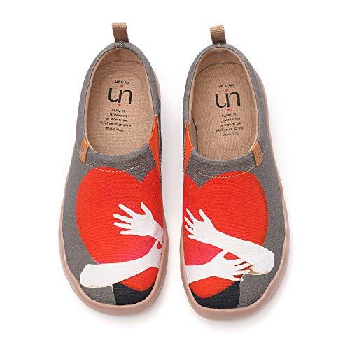 UIN Zapatos para Caminar Gris Corazon Calido Respirable Microfibra
