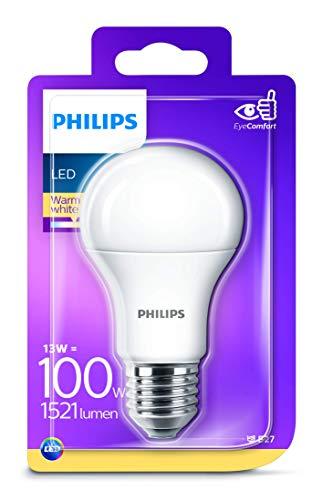 Philips lighting lampadina led, attacco e27, 13 w equivalenti a 100 w, luce bianca calda naturale