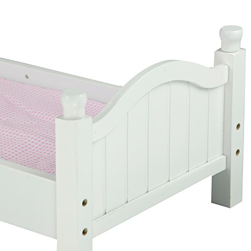 Olivia's Little World - Sweet Girl Single Bed with Pink Polka Mettress | Wooden 18 inch Doll Furniture by Olivia's Little World