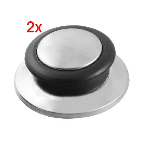 SODIAL(R) 2 x Tirador para Tapa de Olla Vidrio Templado, Accesorio de Cocina Color de Negro Plateado