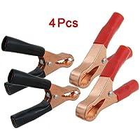SODIAL(R) 4 x clips de batterie de voiture/pinces crocodile metalliques Cuivre plaque 50A Rouge Noir