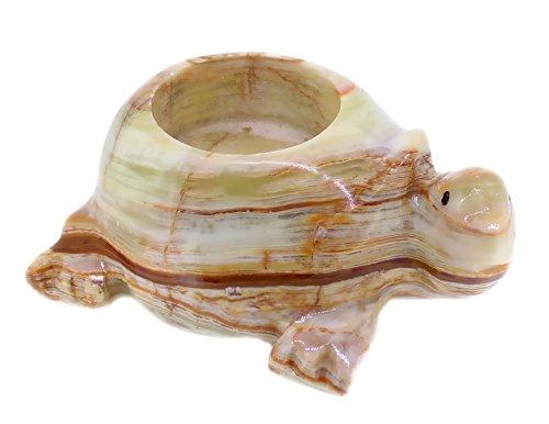 Teelichthalter Schildkröte aus Onyxmamor, Edelstein Teelicht, Gravuren aus Onyx