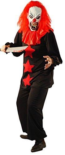 CL COSTUMES Halloween-Horror-böse SCHWARZ & ROTES Terror Clown Kostüm inklusive Latex Horror Maske - Von Teen Größe bis XXXXL - Rot, Men: Large