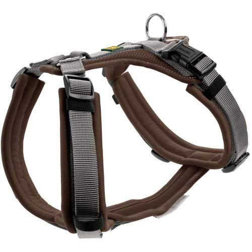 HUNTER Maldon Hundegeschirr,Y-Form, weich gepolstert, ideal für sportliche Aktivitäten Farbe braun/grau, Größe S-M