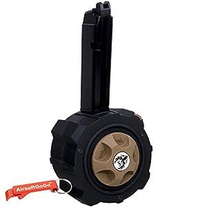 Métal Gaz Drum Chargeur pour Marui , HFC, WE, APS G17 / G18 / G22 / G26 / G34 Airsoft GBB (Noir) - Porte-clés Inclus