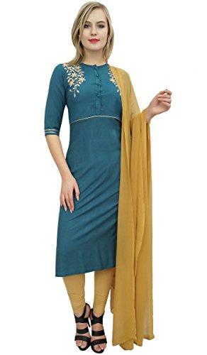 Atasi Frauen Blau Rayon bestickt Kurti Churidar Straight Cut Salwar Anzug-46 -