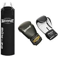 Bad Company Box-Set I Canvas Boxsack, gefüllt inkl. Heavy Duty Deckenbefestigung + Boxhandschuhe White Tiger I 100 x 30 cm I 80 x 30 cm