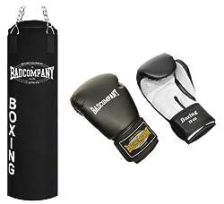 """Profi Box-Set inkl. Canvas Boxsack 100 x 30cm gefüllt, Vierpunkt-Stahlkette und PU Boxhandschuhe """"White Tiger"""", 12 Unzen (OZ)"""