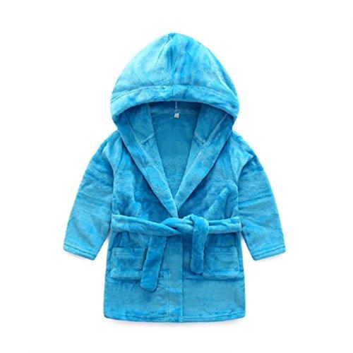 Kinder Bademantel Schlafanzüge Baby Mädchen Jungen Herbst Winter Warm Morgenmantel Nachtwäschemit Kapuze (Blau, Höhe 100-110cm)