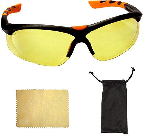 Viwanda Schutzbrille mit optimalem Seitenschutz und Gelben Gläsern + Brillen-Beutel und...