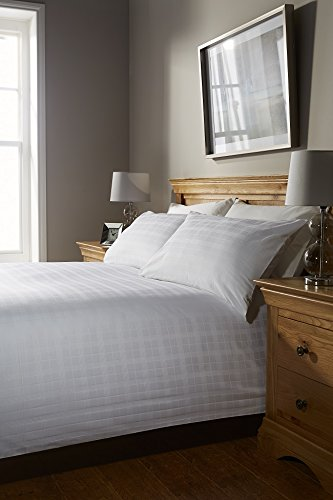 400 Thread Count SUPER KING BED SIZE WINDOW CHECK WHITE 100% Cotton Jacquard Duvet Cover With Pair of Pillowcases